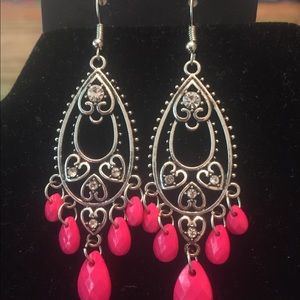 Pink and silver shandallier earrings